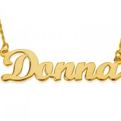 Solid Yellow 14k Gold Name Necklace..
