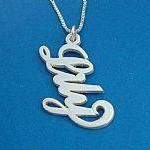 Vertical Solid 14k White Gold Name ..