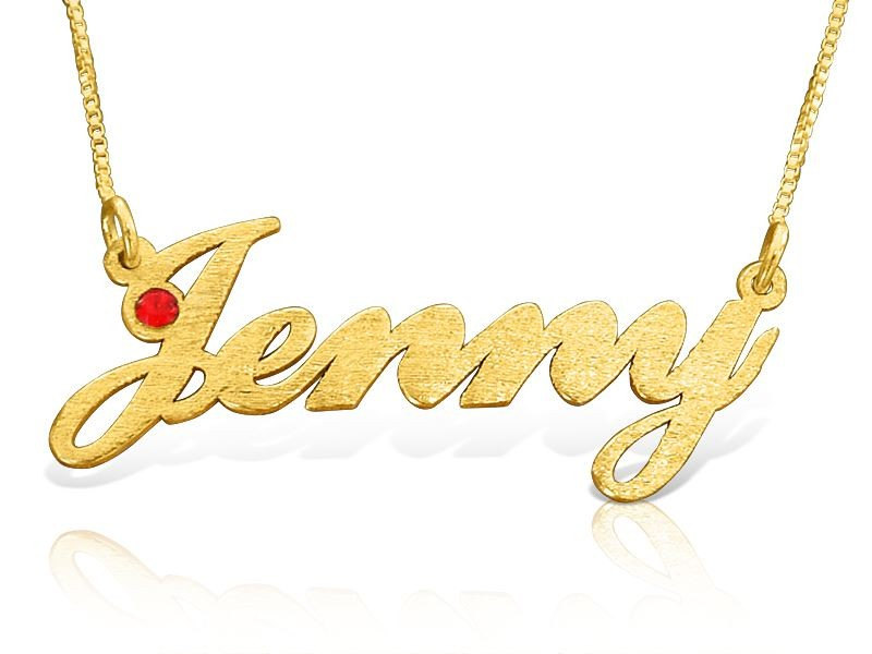 Solid Yellow 14k Gold Name Necklace Custom Made Jenny Style 8 Mm