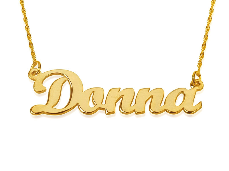 Solid Yellow 14k Gold Name Necklace Custom made 4U Donna style UPGRADED THICKNESS .8 mm Personalized Jewelry My name necklace Twist chain