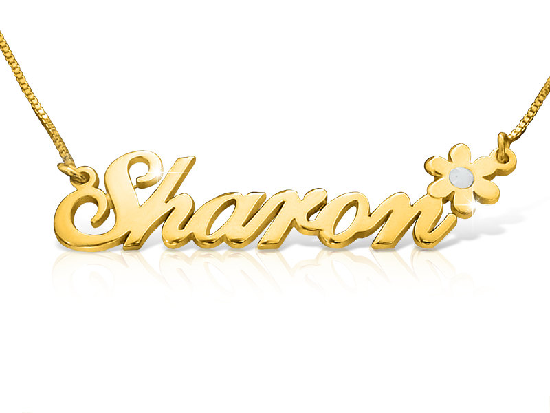 18k Gold Plated Sharon Style Name Necklace ORDER ANY NAME Flower Birthstone monogram pendant chain nameplate tag Yellow gold personalized