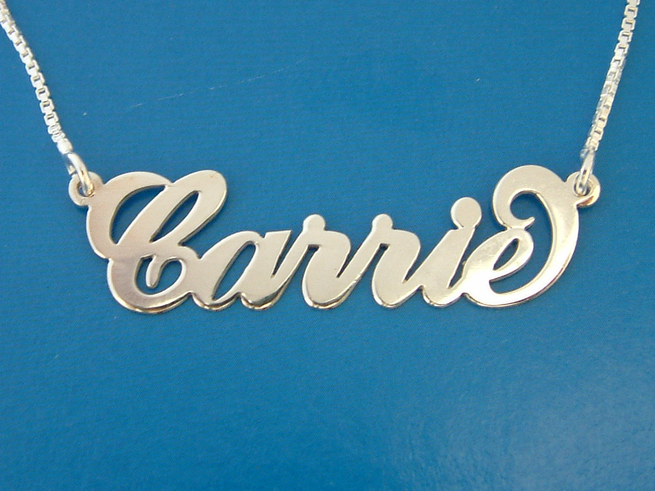 Carrie Sex and City Style Name Necklace nameplate pendant chain FREE shipping Sterling Silver ORDER ANY name! personalized jewelry Ashley