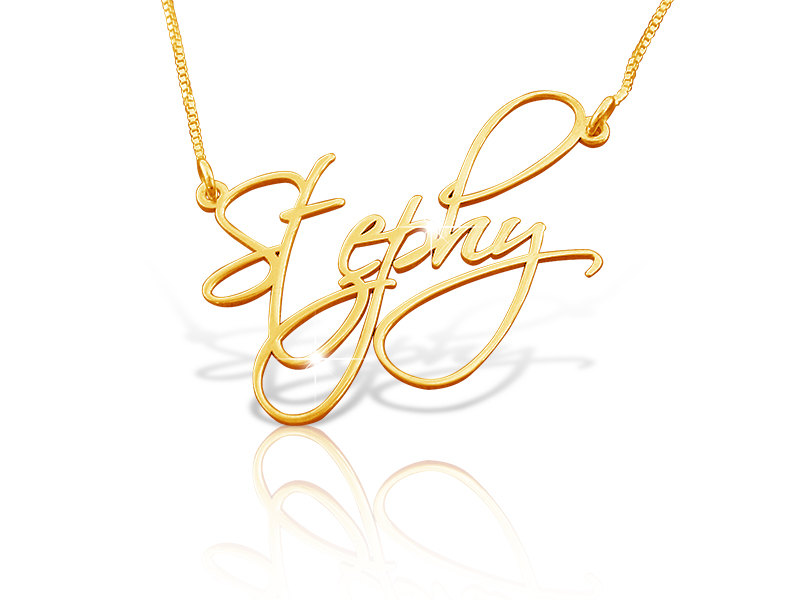 Stephy Style Order Any Name Necklace nameplate pendant chain Free shipping 18k GOLD PLATED initials monogram! personalized 4U