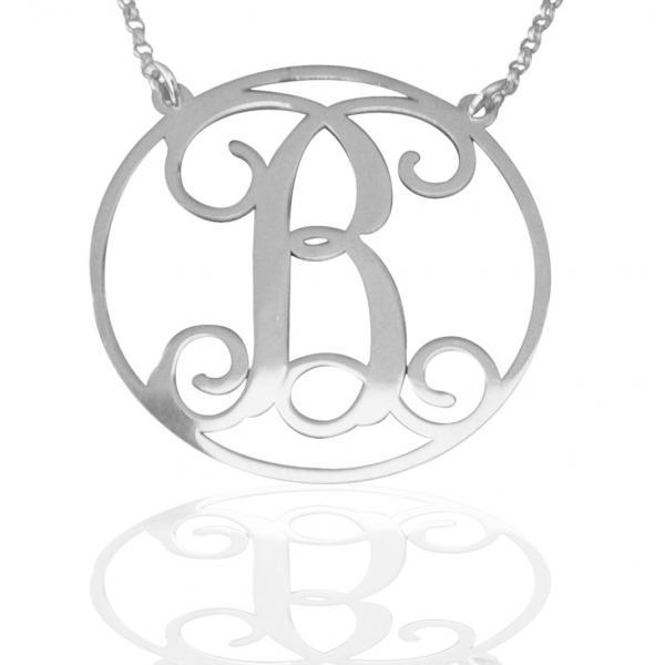 MONOGRAM NECKLACE STERLING SILVER INITIAL STYLE