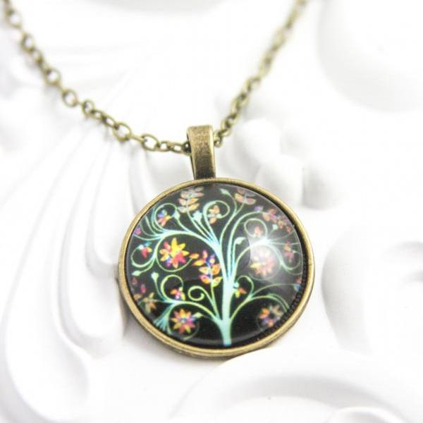 Life Tree Pendant Necklace Art Tree Glass Cabochon Chain Vintage Colorful Statement Necklace Fashion Women Jewelry