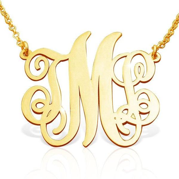 Monogram Necklace! Pendant UPGRADED .8 mm thickness BEST QUALITY Solid 14k Gold pendant and box chain Personalized Jewelry Any 3 initals