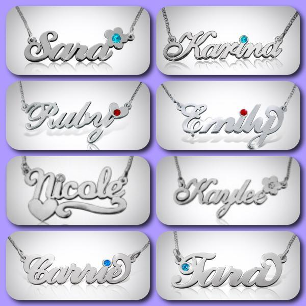 Nameplate Necklace Personalized Name Necklace sterling Silver chain CHOOSE style monogram Bridesmaid gifts pendant Free Shipping