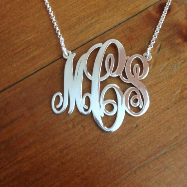 Monogram Necklace! Order any three letters Name Necklace FREE CHAIN pendant Hand made! Personalized Jewelry Sterling Silver Any 3 initals