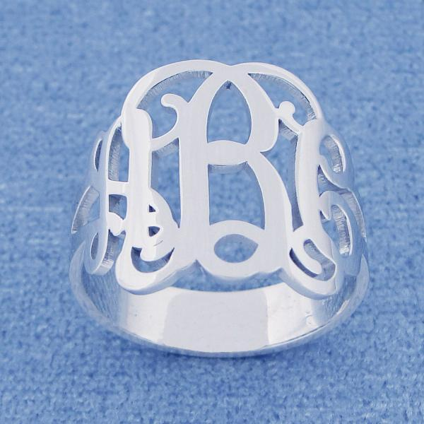 Monogram Ring! Order any three letters, initials and ANY ring size Solid Sterling Silver Hand made! wedding ring Bridesmaid band necklace