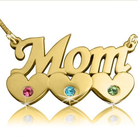 Gold NameNecklace Order ANY NAME! Mother's Day Heart pendant Mom child chain Birthstone Crystals Swarovski personalized jewelry Chain