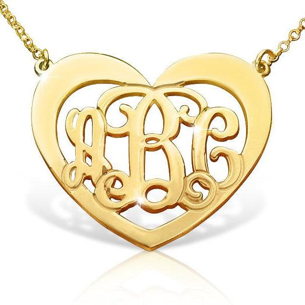Monogram Necklace 18k Gold Plated Heart Design Order any 3 letters Name FREE CHAIN Personalized Jewelry Sterling Silver Any 3 initals