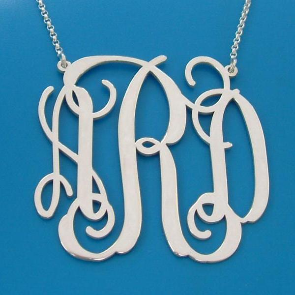 Extra Large Monogram Necklace (5 sizes to choose from) INITITALS 1.75 inches Sterling silver Upgraded Quality Personalized Name Necklace