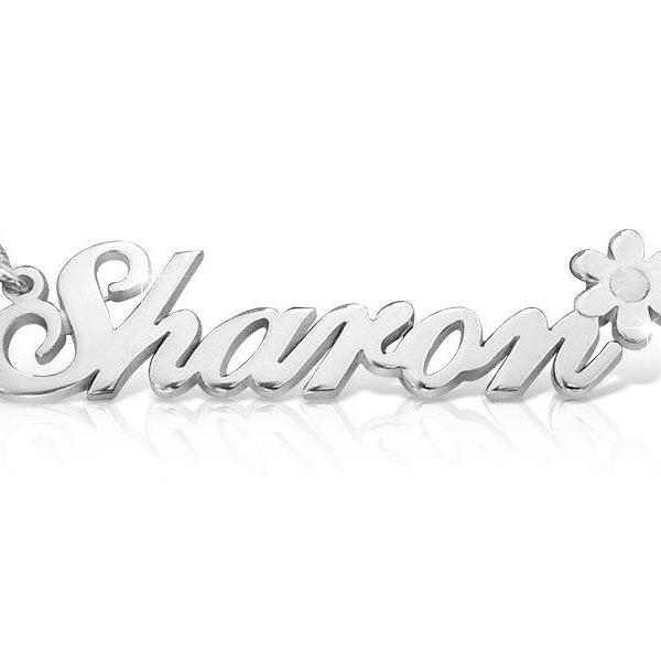 Sharon Flower Style 18k Gold Plated Name Necklace Sterling Silver Personalized ANY NAME nameplate custom made Birthstone crystal monogram