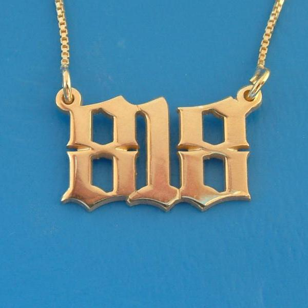 My Name Necklace Monogram Old English Vintage Style Font Zip code initials word 18k GOLD PLATED name chain personalized pendant vintage