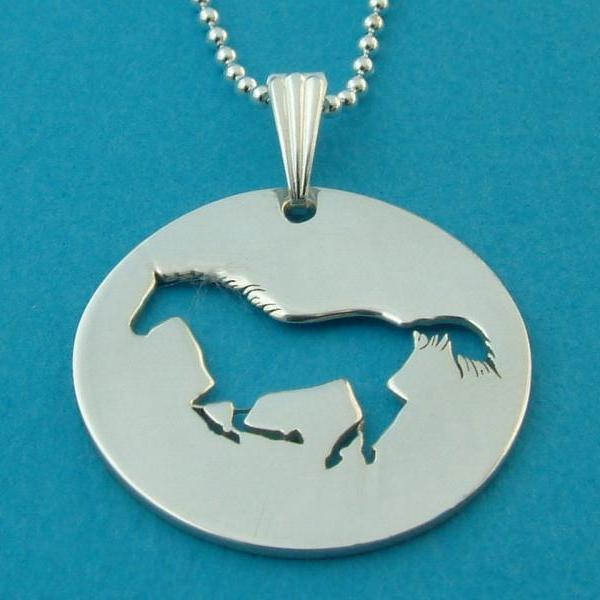 Horse Necklace Pendant and Chain Cowgirl Cowboy Boots Sterling Silver Hand Made Army Dog Tag Chain Western Riding Pony charm Saddle colt