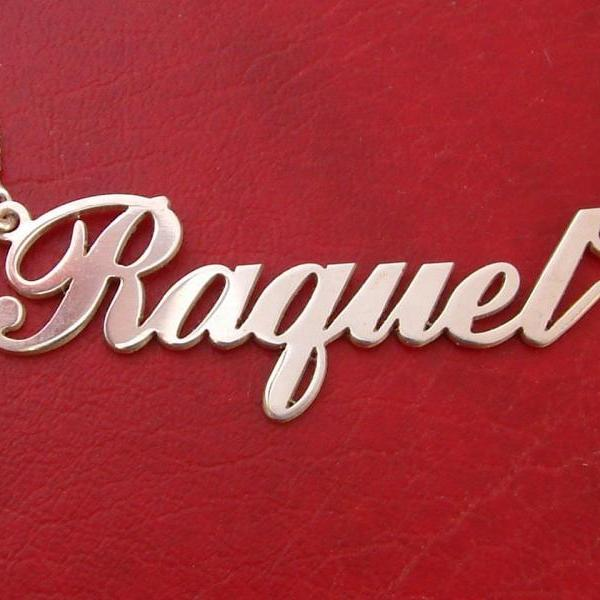 Raquel Style Order Any Name Necklace nameplate pendant chain FREE shipping 1.2 mm UPGRADED THICKNESS initials monogram! personalized chain